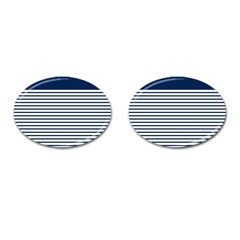 Horizontal Stripes Blue White Line Cufflinks (oval) by Mariart