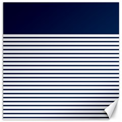 Horizontal Stripes Blue White Line Canvas 20  X 20   by Mariart