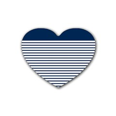 Horizontal Stripes Blue White Line Heart Coaster (4 Pack)  by Mariart