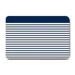 Horizontal Stripes Blue White Line Small Doormat  by Mariart