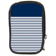 Horizontal Stripes Blue White Line Compact Camera Cases by Mariart