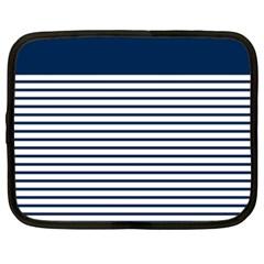 Horizontal Stripes Blue White Line Netbook Case (xxl)  by Mariart