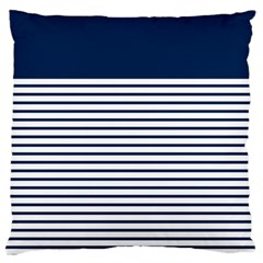 Horizontal Stripes Blue White Line Standard Flano Cushion Case (two Sides) by Mariart