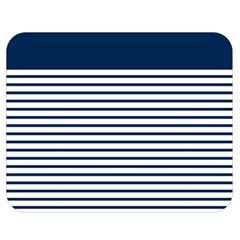 Horizontal Stripes Blue White Line Double Sided Flano Blanket (medium)  by Mariart
