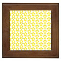 Yellow Orange Star Space Light Framed Tiles by Mariart