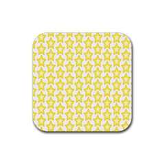 Yellow Orange Star Space Light Rubber Square Coaster (4 Pack)  by Mariart