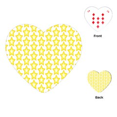 Yellow Orange Star Space Light Playing Cards (heart)  by Mariart