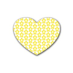 Yellow Orange Star Space Light Heart Coaster (4 Pack)  by Mariart