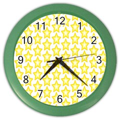 Yellow Orange Star Space Light Color Wall Clocks by Mariart
