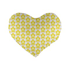 Yellow Orange Star Space Light Standard 16  Premium Flano Heart Shape Cushions by Mariart