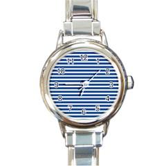 Horizontal Stripes Dark Blue Round Italian Charm Watch by Mariart
