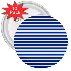 Horizontal Stripes Dark Blue 3  Buttons (10 Pack)  by Mariart