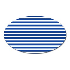 Horizontal Stripes Dark Blue Oval Magnet