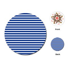 Horizontal Stripes Dark Blue Playing Cards (round)  by Mariart