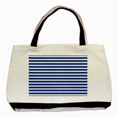 Horizontal Stripes Dark Blue Basic Tote Bag by Mariart