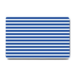 Horizontal Stripes Dark Blue Small Doormat  by Mariart