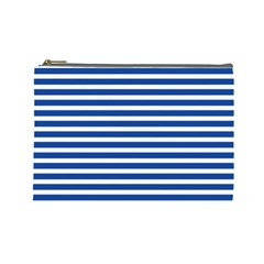 Horizontal Stripes Dark Blue Cosmetic Bag (large)  by Mariart