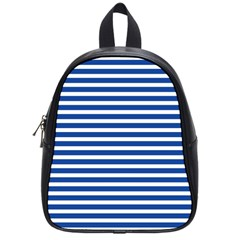 Horizontal Stripes Dark Blue School Bags (small)  by Mariart