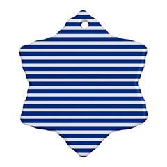 Horizontal Stripes Dark Blue Ornament (snowflake) by Mariart