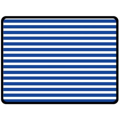 Horizontal Stripes Dark Blue Double Sided Fleece Blanket (large)  by Mariart