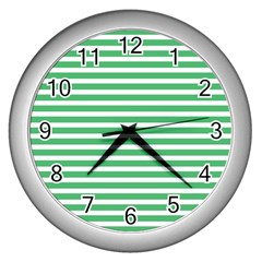Horizontal Stripes Green Wall Clocks (silver)  by Mariart