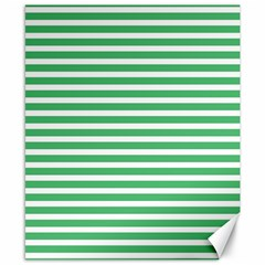 Horizontal Stripes Green Canvas 8  X 10  by Mariart