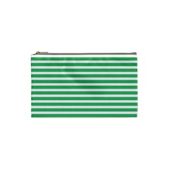 Horizontal Stripes Green Cosmetic Bag (small)  by Mariart