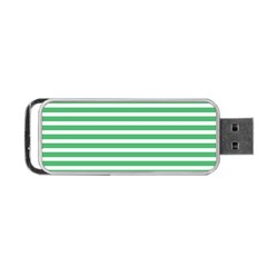 Horizontal Stripes Green Portable Usb Flash (one Side) by Mariart