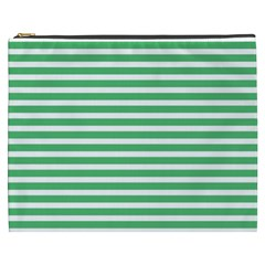 Horizontal Stripes Green Cosmetic Bag (xxxl)  by Mariart