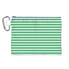 Horizontal Stripes Green Canvas Cosmetic Bag (l) by Mariart