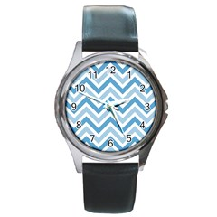 Zig Zags Pattern Round Metal Watch
