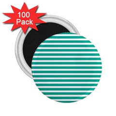 Horizontal Stripes Green Teal 2 25  Magnets (100 Pack)  by Mariart