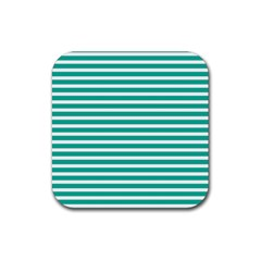 Horizontal Stripes Green Teal Rubber Coaster (square)  by Mariart
