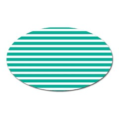 Horizontal Stripes Green Teal Oval Magnet by Mariart