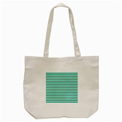 Horizontal Stripes Green Teal Tote Bag (cream) by Mariart