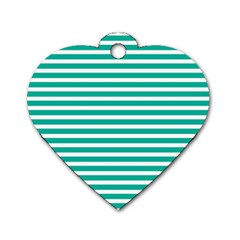 Horizontal Stripes Green Teal Dog Tag Heart (one Side) by Mariart