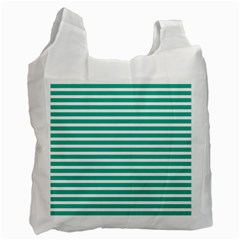 Horizontal Stripes Green Teal Recycle Bag (one Side) by Mariart