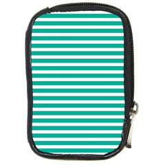 Horizontal Stripes Green Teal Compact Camera Cases by Mariart