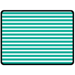Horizontal Stripes Green Teal Fleece Blanket (large)  by Mariart
