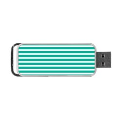 Horizontal Stripes Green Teal Portable Usb Flash (two Sides) by Mariart