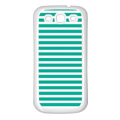 Horizontal Stripes Green Teal Samsung Galaxy S3 Back Case (white) by Mariart