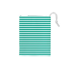 Horizontal Stripes Green Teal Drawstring Pouches (small)  by Mariart
