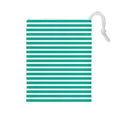 Horizontal Stripes Green Teal Drawstring Pouches (large)  by Mariart