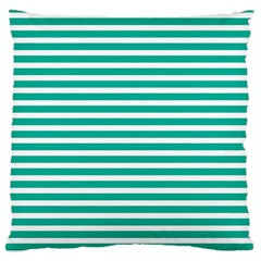 Horizontal Stripes Green Teal Large Flano Cushion Case (two Sides) by Mariart