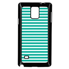 Horizontal Stripes Green Teal Samsung Galaxy Note 4 Case (black) by Mariart