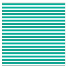 Horizontal Stripes Green Teal Large Satin Scarf (square) by Mariart