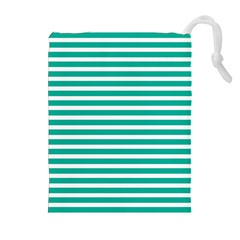 Horizontal Stripes Green Teal Drawstring Pouches (extra Large) by Mariart