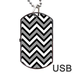 Zig Zags Pattern Dog Tag Usb Flash (two Sides) by Valentinaart
