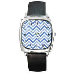 Zig Zags Pattern Square Metal Watch by Valentinaart