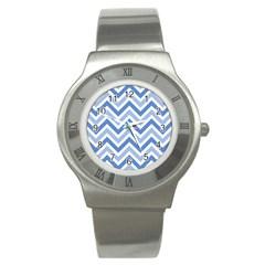 Zig Zags Pattern Stainless Steel Watch by Valentinaart